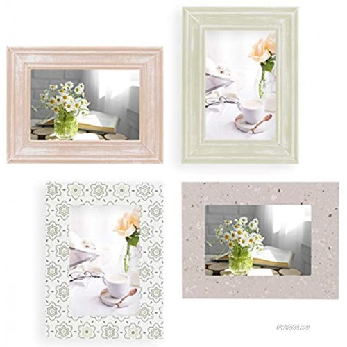 4x6 Picture Frames 4x6 Frame Set of 4 For Wall Collage Wood Turquoise White & Gray Table Top & Wall Mount Rustic Photo Frame Sets For Home Office Gallery Fits 4x6 photos