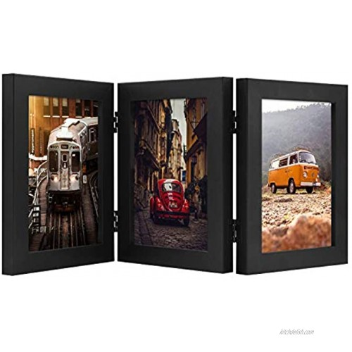 Frametory Hinged Frame with Front Glass Made to Display Three Pictures Stands Vertically on Desktop or Table Top Black 5x7 Triple