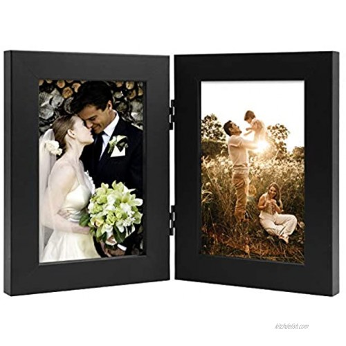 Golden State Art Decorative Hinged Table Desk Top Picture Photo Frame 2 Vertical Openings with Real Glass 4x6 Double Black 1-Pack