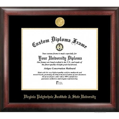 Campus Images VA999GED Virginia Tech Embossed Diploma Frame 13.5 x 15.5 Gold