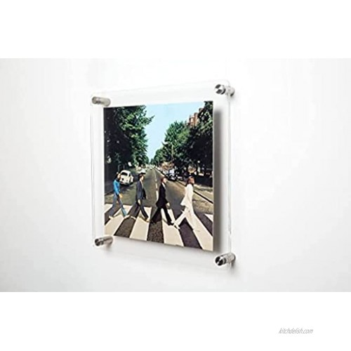 Clear Acrylic Wall Mount Floating Picture Frame for Document Certificate Sign Display -Double Panel Vinyl LP Album Cover Sleeves 13.2 x 13.4
