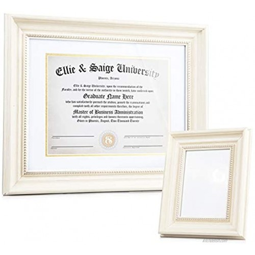 Ellie & Saige 8.5 x 11'' 11 x 14 without mat Cream and Gold Wooden Diploma Frame Degree Frame Certificate Frame or Document Frame With White And Gold Mat AND Matching 5 x 7'' Picture Frame
