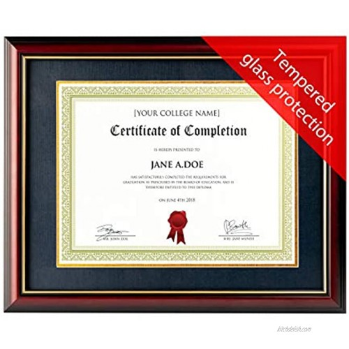 Mahogany College Diploma Frame with Removable Mat. 8.5 x 11 Frame with Matting or 14x11 Inch Frame Mat Removed. Tempered Glass Document Frames for Certificate Frame Degree and Graduation Frame