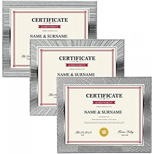 Picture Frames 8.5x11 Set of 3 Document Certificate Frame with Sparkling Silver Edge High Definition Glass for Tabletop Display Silver