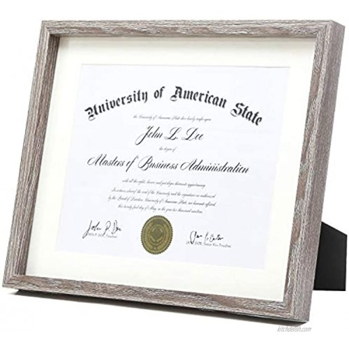 Rustic Grey Diploma Frame Solid Wood 11x14 with Adhesive Wall Hooks Nail Hooks 2 White Mats Sized: 8.5x11 or 8x10 for Documents Degrees Certificate Photo Pictures Certification Tempered Glass