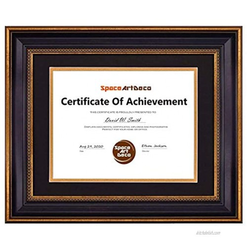 Space Art Deco Gold Black Design Diploma Frame Black Over Gold Double Mat for 8.5x11 Inch Certificates and Documents Sawtooth Hangers Wall Mount 11x14 Frame 1-Pack Ornate Gold