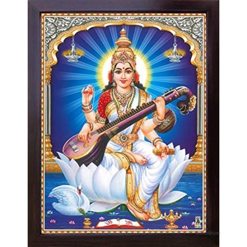 Goddess Maa Saraswati with her Saraswati veena and sitting on lotus flower Goddess of Knowledge and wisdom Poster Painting with frame for Religious & Worship