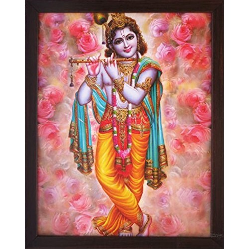 Handicraft Store A Lord Krishna Playing Flute a Elegant & Religious Poster with Frame