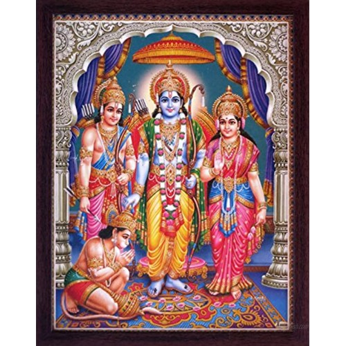Hanuman Sitting in Ram Darbar and Showing is Dedication Towards His Family a Holy Religious Poster Painting with Frame for Hindu Worship and Gift Purpose
