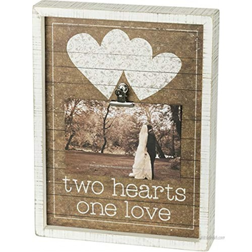 Primitives by Kathy Inset Box Photo Frame 9 x 12 Fits 6 x 4 Two Hearts One Love