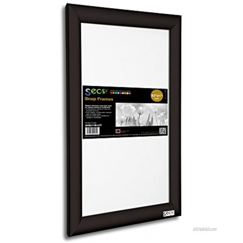 SECO Front Load Easy Open Snap Frame Poster Picture Frame 8.5 x 11 Inches Black Aluminum Frame SN8511Black