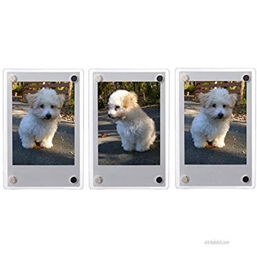 FoRapid 3-inch 2-Sided Clear Acrylic Refrigerator Magnetic Photo Frame-Elegant Frameless Display Fujifilm Instax Mini 9 8 8+ 70 7s 90 25 26 50s Film Cards Memos HP Pocket Photo Paper 2x3 Photo 3 PCS