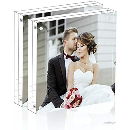 Magicool Premium Acrylic Photo Frame--- Magnet Photo Frame -Double Sied Thick Desktop Frames 5x5 2 pack