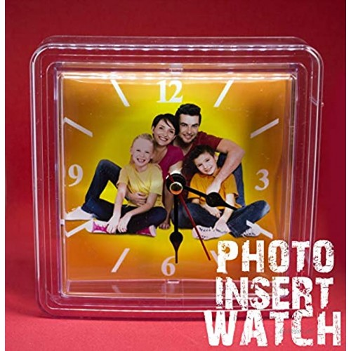 NSD5 Acrylic Square Watch With Magnet Custom Photo Frames S Personalized Snap in Insert Clear Blank DIY Picture Frames-4x4 Size clear 1