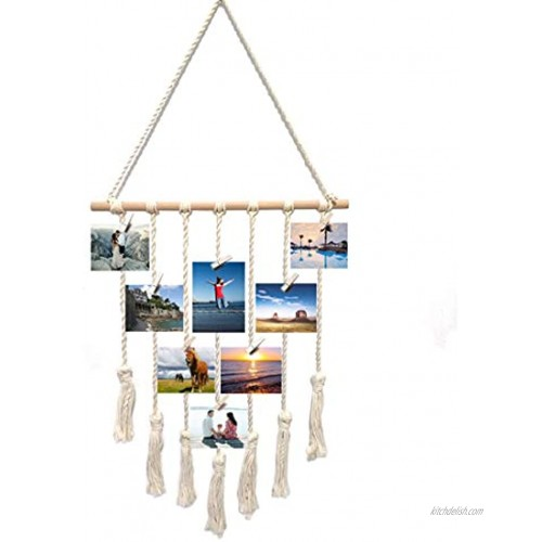 Bealuffe Macrame Wall Hanging Photo Display Boho Decor Wall Tapestry Picture Organizer Off White