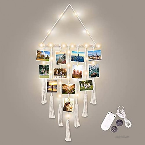 Bemaystar Hanging Photo Display Wall Decor Macrame Wall Hanging Pictures Boho Home Decor Picture Frames Collage Board with String Lights and 25 Wood Clips Bohemian Decor for Home Room Ivory