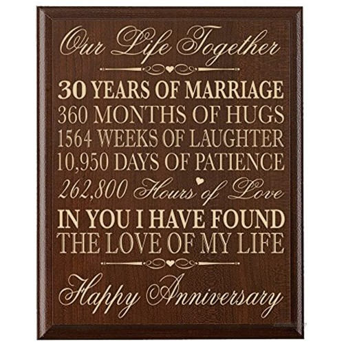 LifeSong Milestones 30th Ideas for Couple Parents 30 Year Wedding Gift for him her Wall Plaque 12 x 15 Cherry