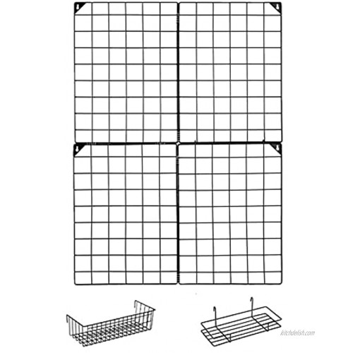 MOOACE Wall Grid with 2 Wire Baskets Photos Grid Panels | Pictures Display | Memo Board | Wall Grid Organizer | Metal Hanging Home Office Decor