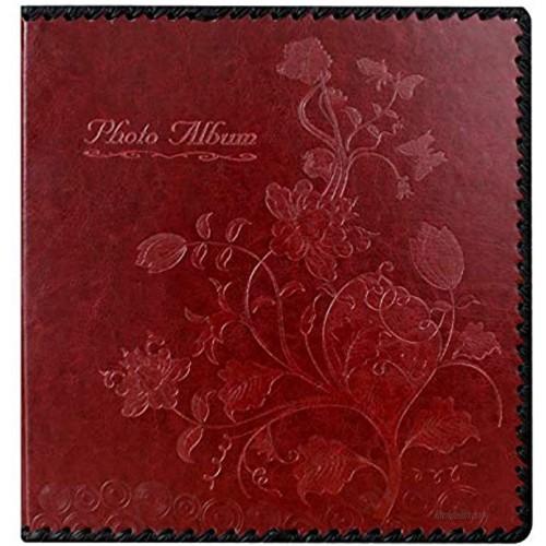 Beautyus Photo Album Book Family Album Leather Cover Holds 3x5 4x6 5x7 6x8 8x10 Photos Wine Red
