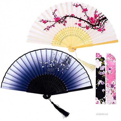 Amajiji 2Pc Hand Held Folding Fans for Woman 8.27 Charming Bamboo Silk Folding Fan with Delicate Sleeve Perfect for Decoration Wedding Party Gift Festival and Fanning White & Gray Plum Blossom