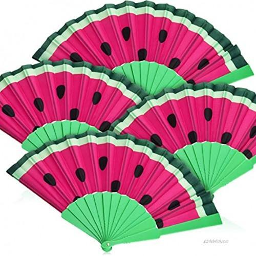 Blulu 4 Pieces Watermelon Fan Cloth Folding Fans Handheld Folding Fans for Festivals Music Concert Dance Performance Party Home Decoration