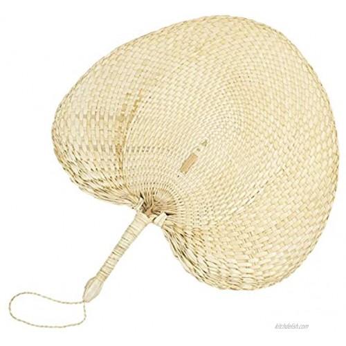 Framendino 1 Pack Natural Raffia Fans Handmade Palm Leaf Fan for Summer Come Peach Shaped 12