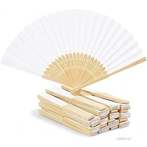 Juvale Bamboo Folding Fans for Wedding Handheld White 24 Pack