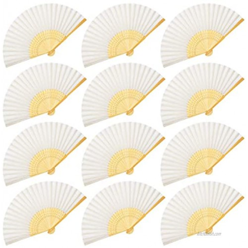 OMyTea Folding Hand Held Fans for Women 12pcs Chinese Japanese Handheld Silk Bamboo Fans for Wedding Guests DIY Decoration Performance Dancing Church Party Favors Festivals Gifts White
