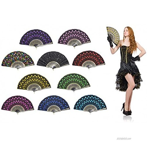 OMyTeaPeacock Folding Hand Held Fans Bulk for Women Spanish Chinese Japanese Vintage Retro Fabric Fans for Wedding Church Party Gifts Mixed Colors 10pcs