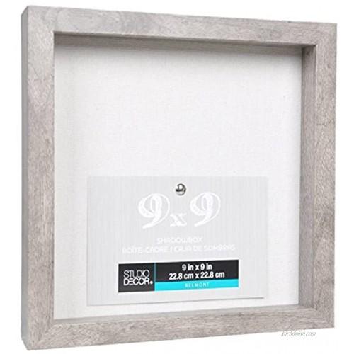 9 x 9 Grey Shadow Box Display Case Heavy Wood Frame 1 Inch Working Depth Barnwood Gray Nursery Wedding Graduation Memory Box