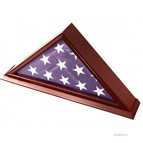 DECOMIL 5'x9' Flag Display Case for American Veteran Burial Flag Solid Wood Cherry Finish