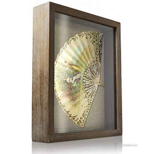 Shadow Box Frame Display Case 8x10 inches Interior 1.4 inches deep Brown Wood Display Your Photo Picture Memory Wedding Love Jersey Collage Trinket