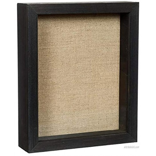 Shadow Box Picture Frame 11x14 Natural Wood Display Case with Linen Back for Memorabilia Pins Awards Medals Tickets and Photos Black