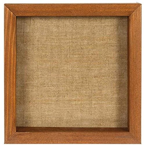 Shadow Box Picture Frame 8x8 Brown Wood Display Case with Linen Back for Memorabilia Pins Awards Medals Photos Back Easel Included