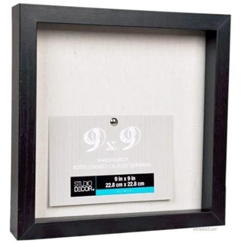 Studio Decor Heavy Duty Wood Frame 1 Depth Shadow Box Display Case Nursery Wedding Graduation Black 9x9