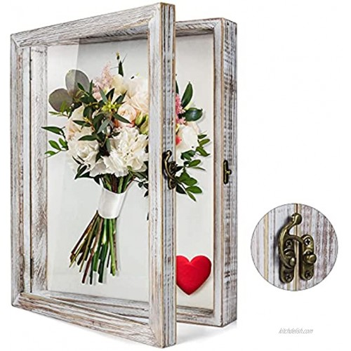 TJ.MOREE Flowers Shadow Box Display Case 11 x 14 Large Shadow Box Frame with Glass Window Door Deep Depth Picture Frame Wedding Bouquet Memorabilia Medals Photos Memory Box for Keepsakes White