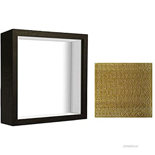 TouYinger 8x8 Shadow Box Frame Display Case With Letter Stickers Wood With Plexiglass Display Case Box For Memorabilia,Baby Items,Wedding Memories,Crafts,Tickets And Photos Black 8x8