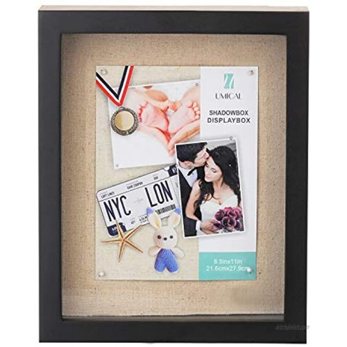 UMICAL 8.5x11 Shadow Box Display Case Black Wooden Shadow Box Frame with Linen Board and Stick Pins Memorabilia Awards Medals Photos Tickets Art Bouquet Memory Box for Keepsakes