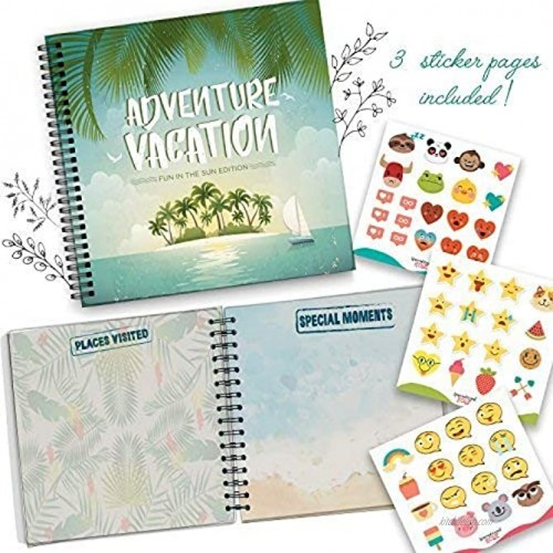 5 Second Hardcover Travel Journal Fun in The Sun Edition to Remember and Record All Your Memories and Photos in a Fun and Unique Way. Best Memory Book and Photo Album 24 Beautiful Pages and Stickers