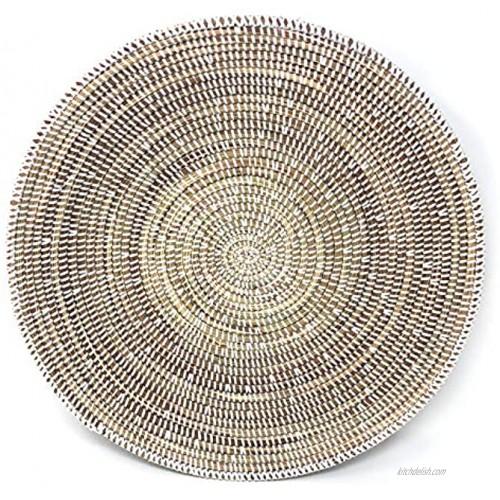 African Fair Trade 12-inch Round Grain Basket White