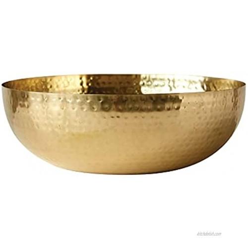Creative Co-Op Round Hammered Metal Bowl 14 Gold,DA7392