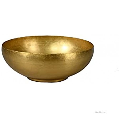 Serene Spaces Living Antique Brass Decorative Bowl Use as Metal Fruit Bowl for Floating Candles Flowers Potpourri Catchall for Entryway Dining Table Home Décor 4.75 Tall & 12 Diameter
