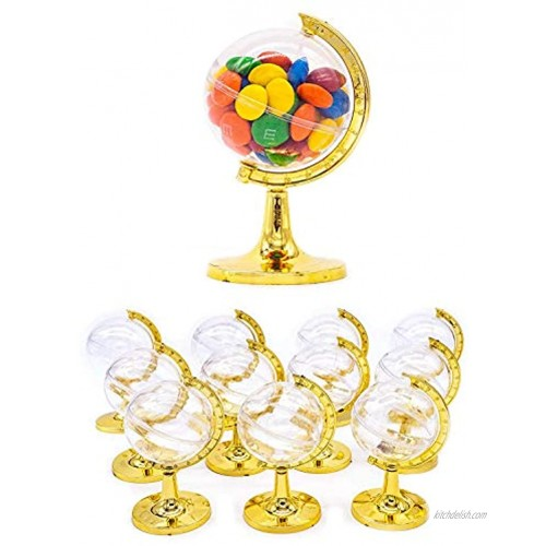 12 Pieces Fillable Mini Round Gold Plated Earth and World shaped Globe Party Favors Assembly Required