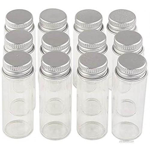 24units 14ml Mini Jars Crafts Glass Bottles with Aluminium Cap Liquid Pill Powder Ornament Bottles Empty Glass Vials Jars 24 14ml
