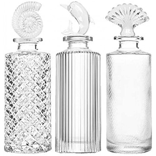 Clear Vintage Glass Bottles with Stopper Embossed Glass Bottles Reed Diffuser Sets Apothecary Flower Bud Vases,Set of 3