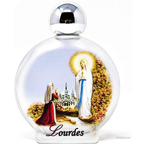 Lourdes Holy Water in Large Round Colorful Bottle containing Lourdes Water