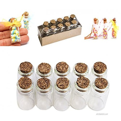 Mini Glass Bottles Cork Tops for Camping Project Arts & Crafts Jewelry Stranded Island Message Wedding Wish Party Favors 10 Pack