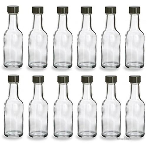 Nakpunar 12 pcs 50 ml Glass Liquor Bottles with Black Cap 1.69 oz