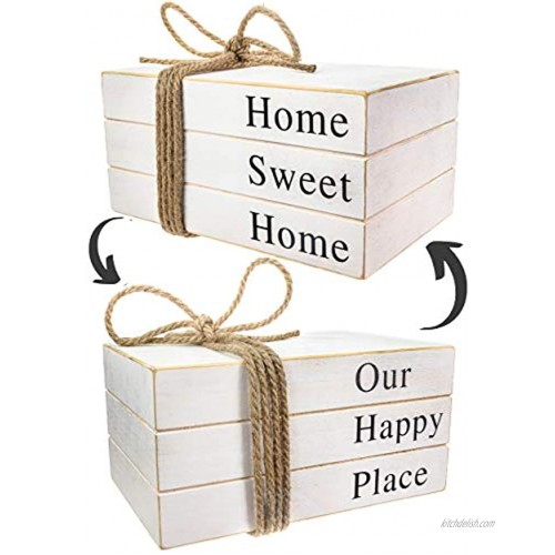2 Signs in1 Stack Faux Books for Decoration,Decorative Books,White Stacked Farmhouse Decor,Wooden Books,Shelf Decor,Home Sweet Home Our Happy Place Signs,Accents,Rustic Decor 10x6x4 inches
