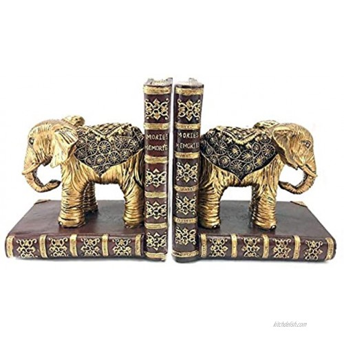 Bellaa 20898 Decorative Bookend Home Décor Book Ends Elephant Statues Bookshelves Heavy Duty Non Skid Gold 6 inch